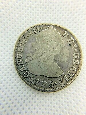 1775 2 REAL CHARLES III BOLIVIA SPANISH ~ 90% Silver