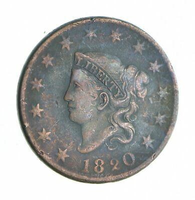 Tough - 1820 Matron Head Large Cent - US Early Copper Coin *736