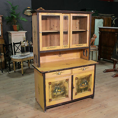 Cupboard Showcase Double Body Wooden Painting Lacquered Mobile Antique Style 900