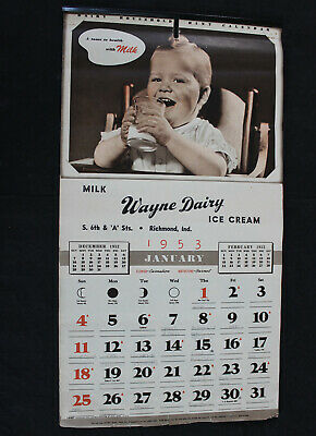 Vintage 1953 Wayne Dairy Products Calendar ~ Richmond, Indiana