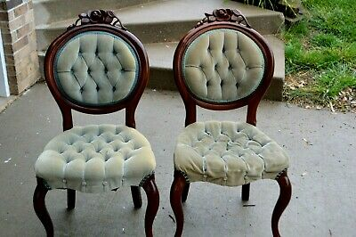 Pelham, Shell & Leckie Pair of 2 Victoria Parlor Chairs Upholstered Dark Wood