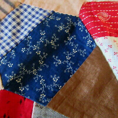 "16"" Antique STAR QUILT BLOCK HOMESPUN CALICO BLUE RED BROWN AMERICANA AAFA PA"