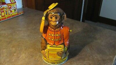 Vintage Antique Rare Tin Litho Mechanical Bank J. Chein Monkey Hat In Hand Moves