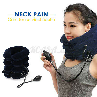 US 4 Layer Air Inflatable Neck Pillow Cervical Traction Brace Device Pain  J