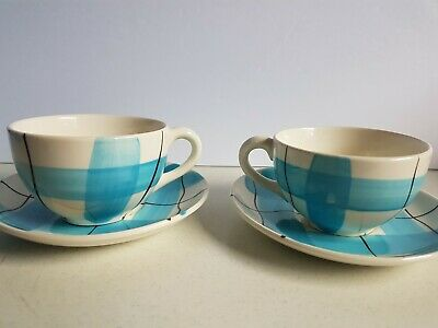 Hycroft Medicine Hat Pottery Calico Plaid Cup and Saucer Lot Vintage