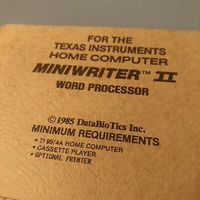 Texas Instruments TI Miniwriter II 2 Word Processor 1985 Manual Computer Book