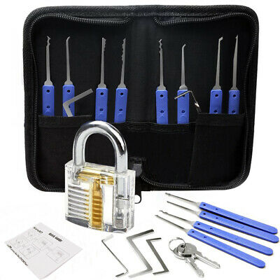 21pcs Practice Lock Picks Set - Rake Tools - Transparent  Padlock - Carry Case