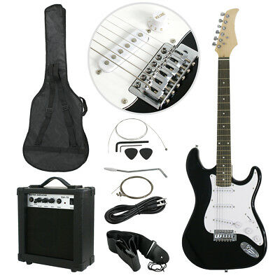 "39"" Electric Guitar Black Full Size with Amp, Case & Accessories Beginner Pack"