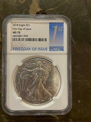 2018 Silver American Eagle $1 Coin MS 70 NGC First Day of Issue FDI FREE S/H