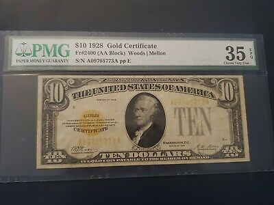 1928 $10 Gold Certificate FR-2400 - Graded PMG 35EPQ - Choice Very Fine