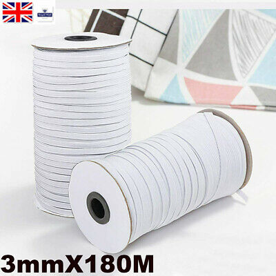 4 8 10 15 20 35 40 60mm Flat White Woven Elastic Tape Stretchy Band Made Europe