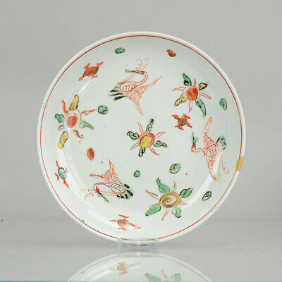 Antique Chinese Wucai Ko-Akae 17C Porcelain Ming Transitional Cranes Flo...