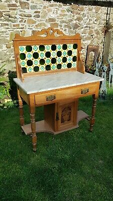 1890 Arts & Craft Wash Stand.  Marble top with original tiled back