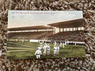 1914 Boston MA Fenway Park Red Sox Baseball Vintage Postcard Posted w/ 1¢ Stamp