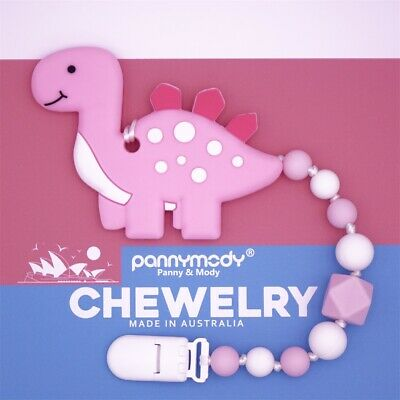 Pink Stegosaurus Baby Girl Teether Toy Dummy Clip Pacifier Clip Shower Gift