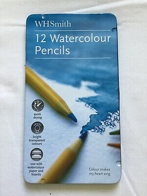 WHSmith 12 Watercolour Pencils In Tin, Part Used