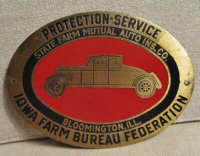 Advertising-ILLINOIS-STATE FARM INSURANCE-IOWA FARM BUREAU-Brass License Topper