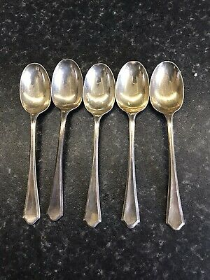 Set Of Five Antique Sterling Silver Spoons