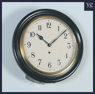 """Antique 16"""" Mahogany Railway Station / School Round Dial Wall Clock (Timepiece)"""
