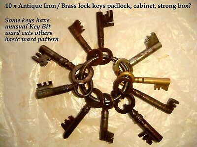 TEN x Antique some Victorian other later iron Keys Strong box, padlocks etc