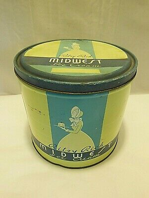 Antique Vintage Ritzy Rich Midwest Pure Cream Ice Cream 1 Gallon Tin Container