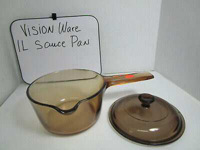 VINTAGE Corning Pyrex Vision Ware 1 L Amber Glass Pot Sauce Pan with Lid U.S.A