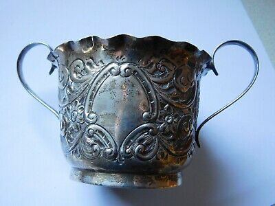 Antique English Solid Hallmarked Silver Highly Embossed Sugar Bowl.