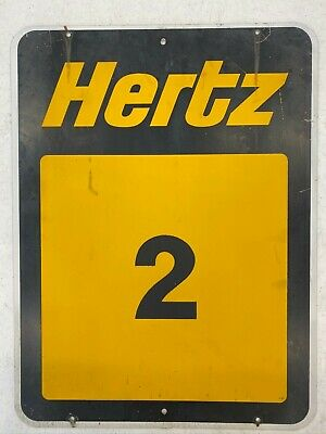 Vintage Hertz Rent a Car Parking Stall Sign 2 Black & Yellow