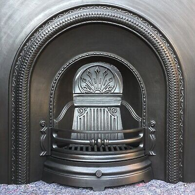Cast Iron Fireplace / Fire Surround / Insert / Victorian Arch Style / Solid Fue