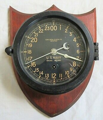 WWII Chelsea Clock Co US Navy Ship's Clock Mounted on Wood Running Vtg Old