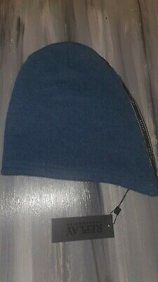 Replay Slouch Back Wool Blend Blue Beanie hat Unisex