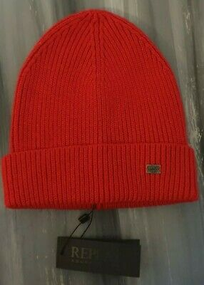 Replay Wool Blend Red Chunky Knit Beanie Hat Unisex