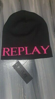 Replay Black Pink Beanie Hat mens ladies unisex