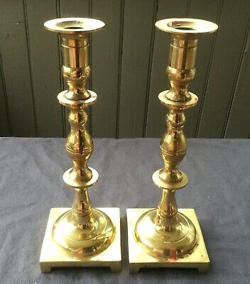 "VINTAGE PAIR of BRASS FOOTED CANDLESTICK HOLDERS 10"" tall"