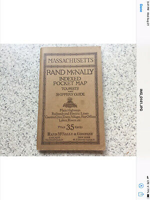 Rand McNally Indexed Pocket Map Of Massachusetts 1920's. Tourists And Shippers G
