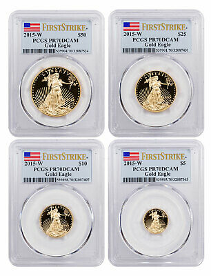 2015 W Gold American Eagle Proof 4 Coin Set PCGS PR70 DCAM First Strike Flag
