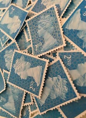 500 X Blue 2nd Class Unfranked Off Paper No Gum Postage Stamps - FV £325!