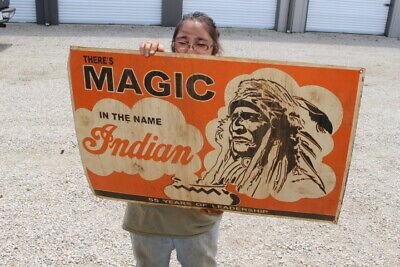 """Large Indian Motorcycle There's Magic In the Name Indian Gas Oil 36"""" Metal Sign"""