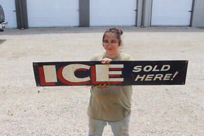"Large Ice Sold Here! Gas Station Grocery Store 48"" Metal Sign"