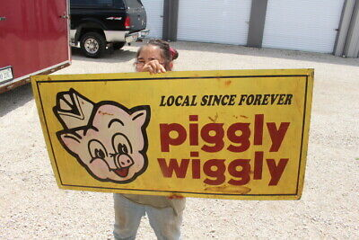 "Large Piggly Wiggly Local Since Forever Grocery Store Pig 48"" Metal Sign"
