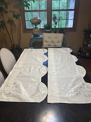 52x20 Ivory Damask Window Valance Pair