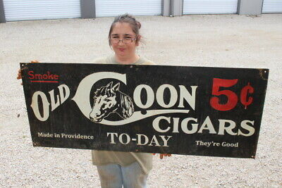 """Large Old Coon 5c Cigars To-Day Tobacco Country Store Gas Oil 48"""" Metal Sign"""