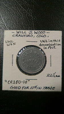 Crawford Colorado Will J. Wood 10c Trade Token Aluminum 22.5mm Unlisted