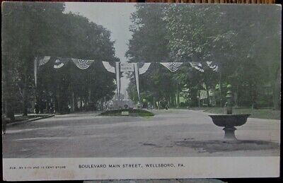 Boulevard Main Street, Prior To Firemans Parade, Wellsboro, Pa