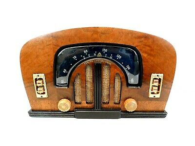 VINTAGE 1940s RESTORED ZENITH ANTIQUE OLD BOOMERANG DIAL WOOD CABINET TUBE RADIO