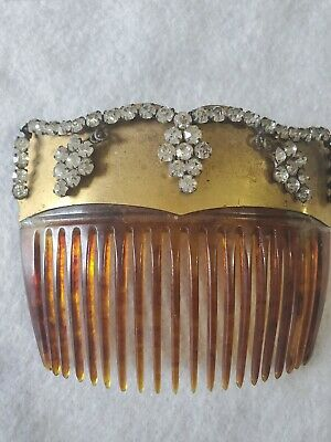 Antique Hair Comb Gold And Silver Rhinestone