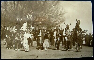 Vintage RPPC Real Photo Native American Indian Masked Dancers Eagle Feathers