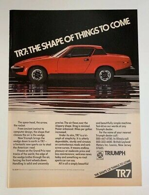 1975 Triumph TR7 Print Ad The Shape Of Things To Come British Leyland Motors