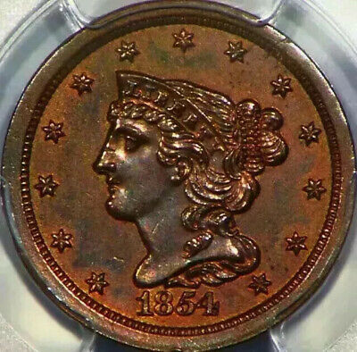 1854 Braided Hair Half Cent 1/2C US PCGS Surfaces Smoothed UNC Detail Coin K85