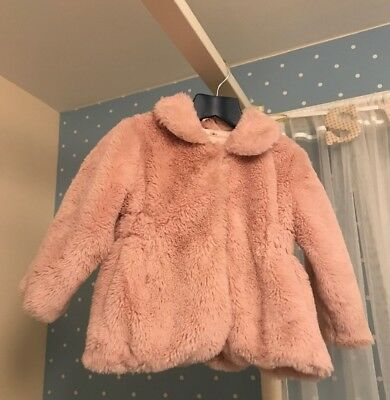 Gorgeous Dusky Pink Faux Fur Super Soft Coat Jacket Age 2-3 Years From Tu